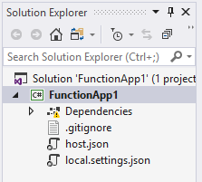 Function app in the Solution Explorer