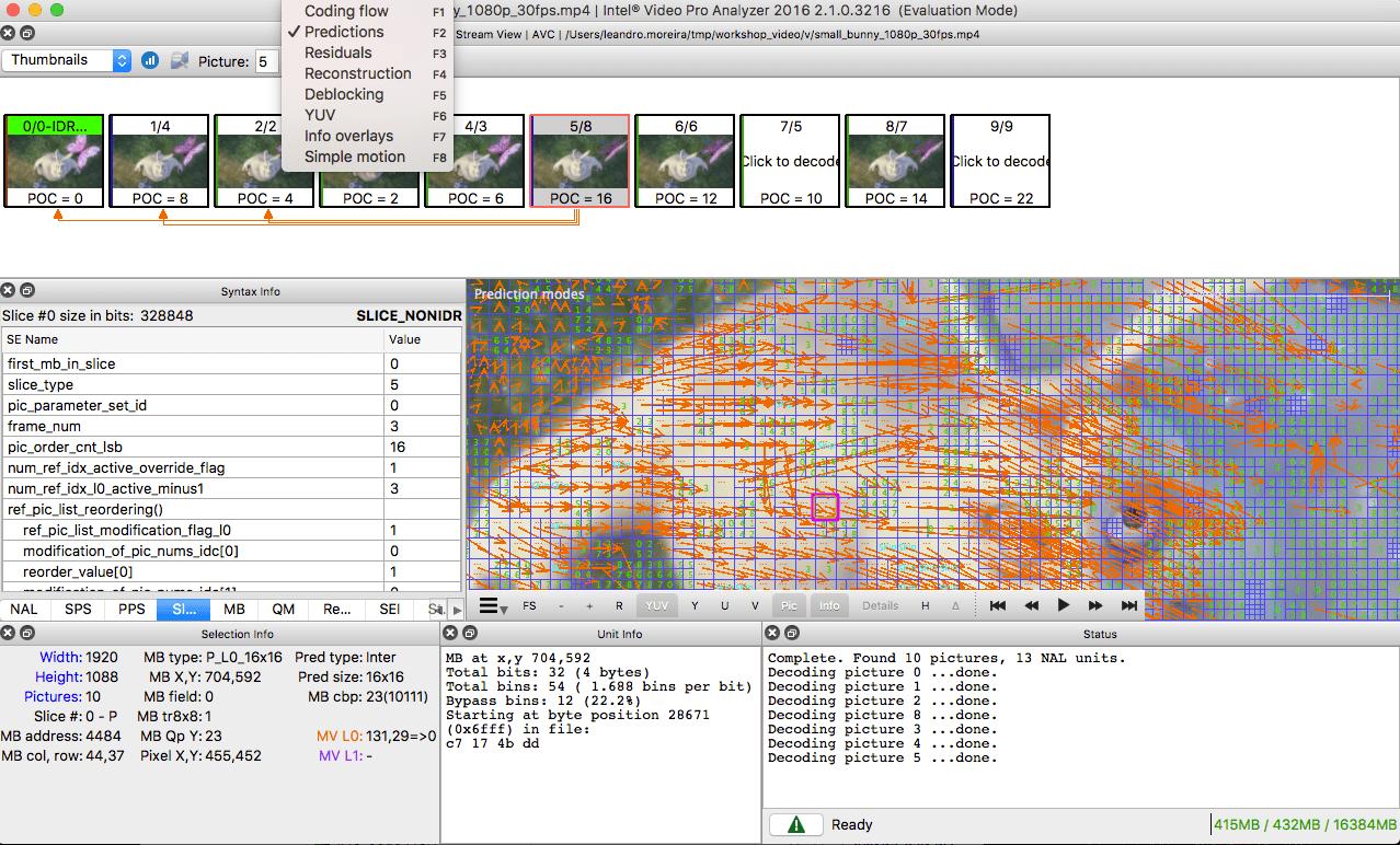intel video pro analyzer details h264 bitstream