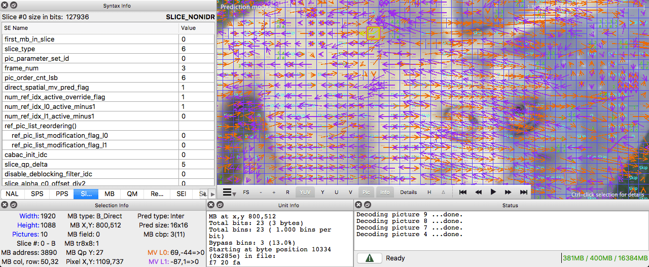 inter prediction intel video pro analyzer