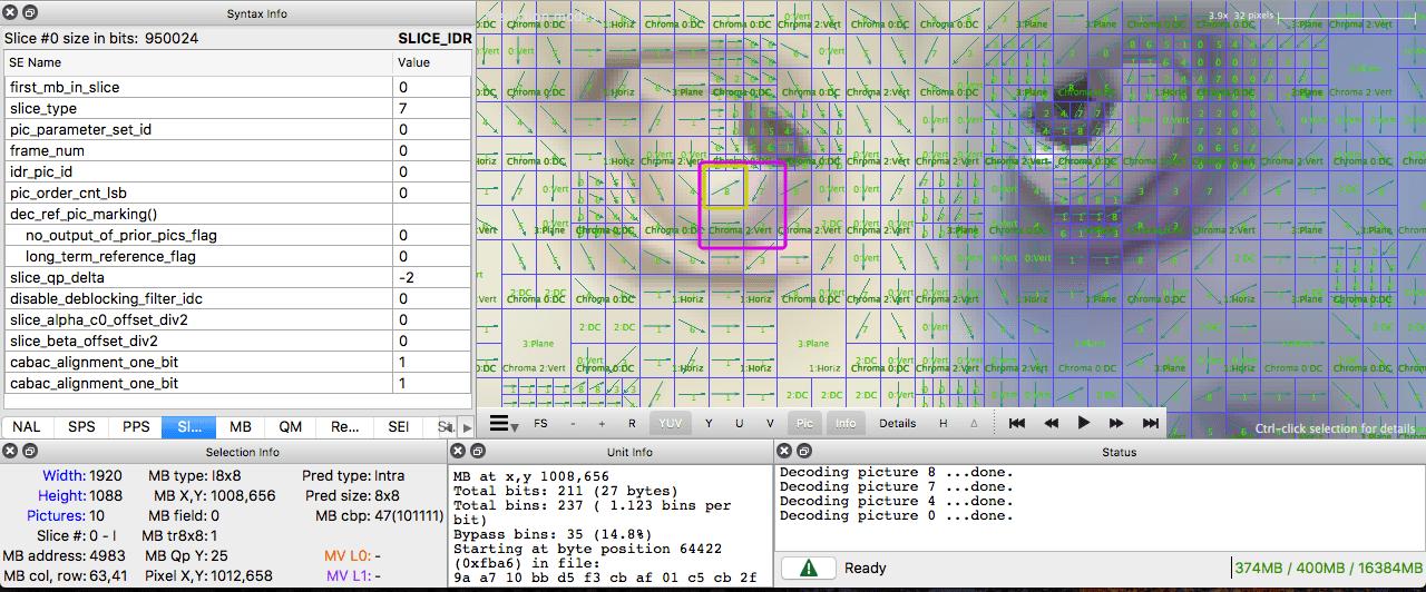 intra prediction intel video pro analyzer