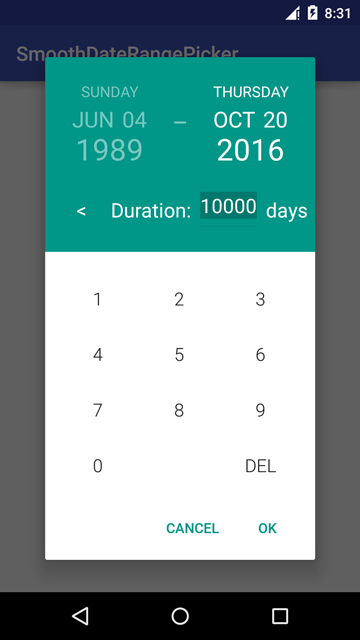 Duration Number Pad