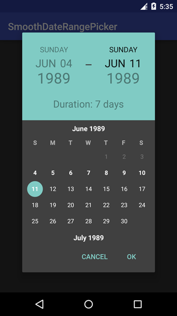 Date Range Picker Dark Theme