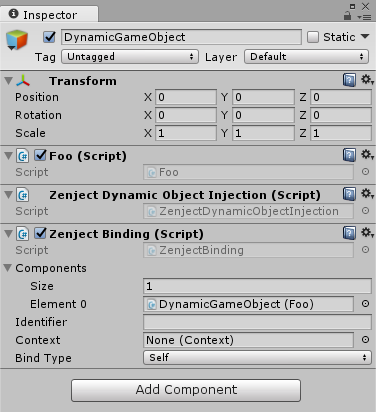 Dynamic GameObject with binding