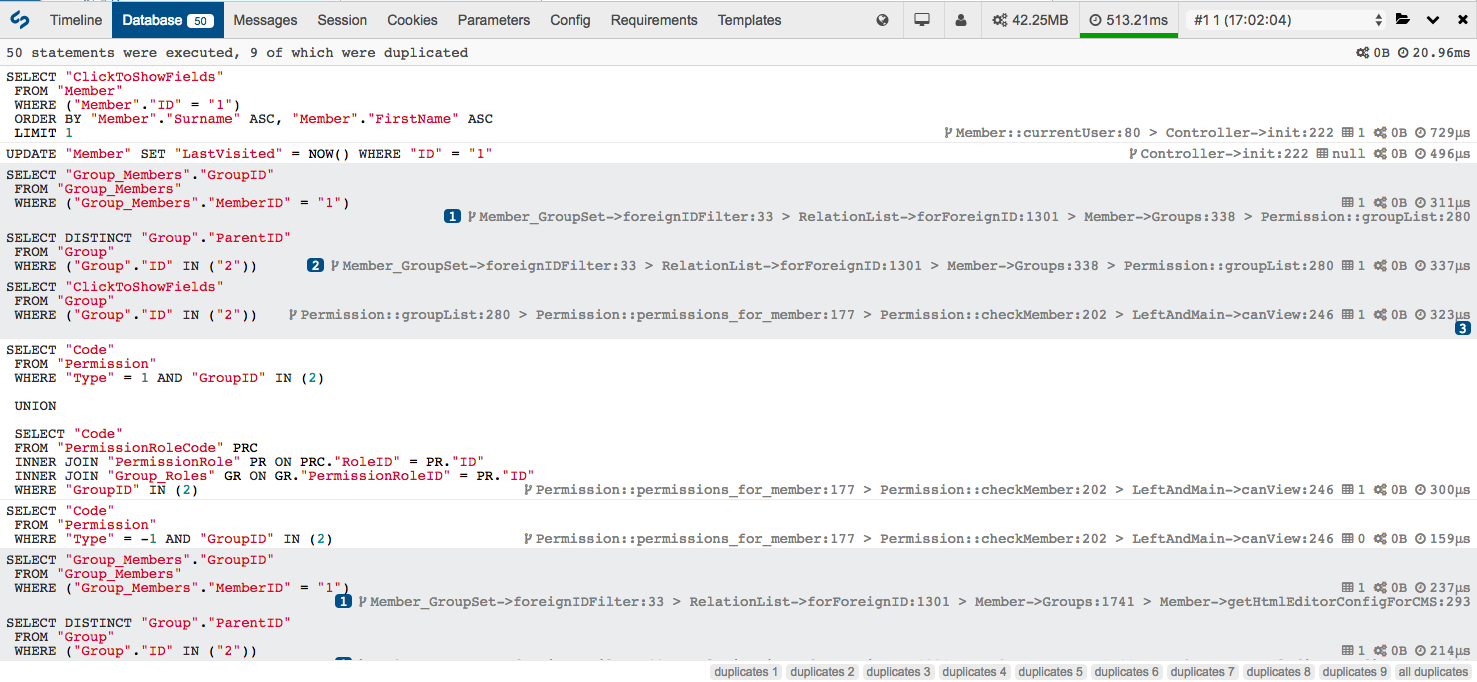 Database profiling