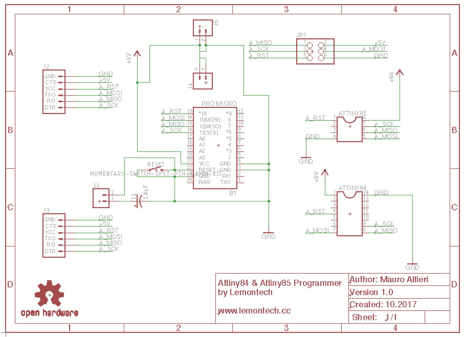 Lemontech AtTiny Programmer Schematic