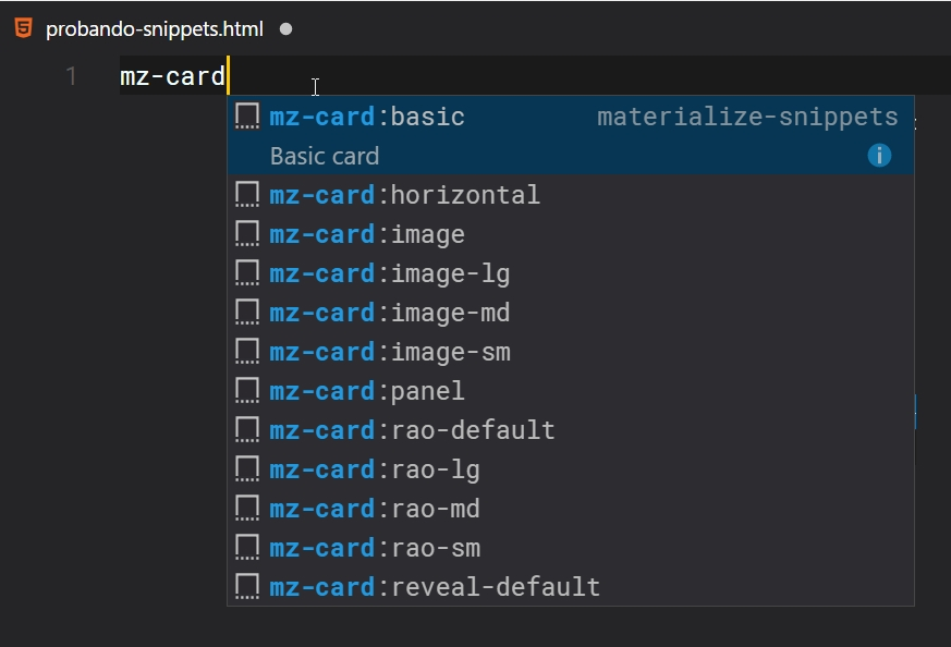 Materialize Snippets Visual studio code plugin