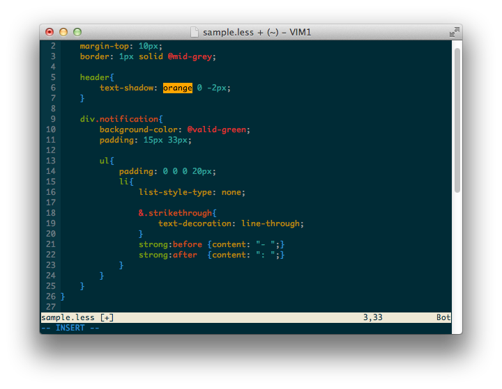 vim-less with vim-css-color and vim-css3-syntax (colorscheme solarized)