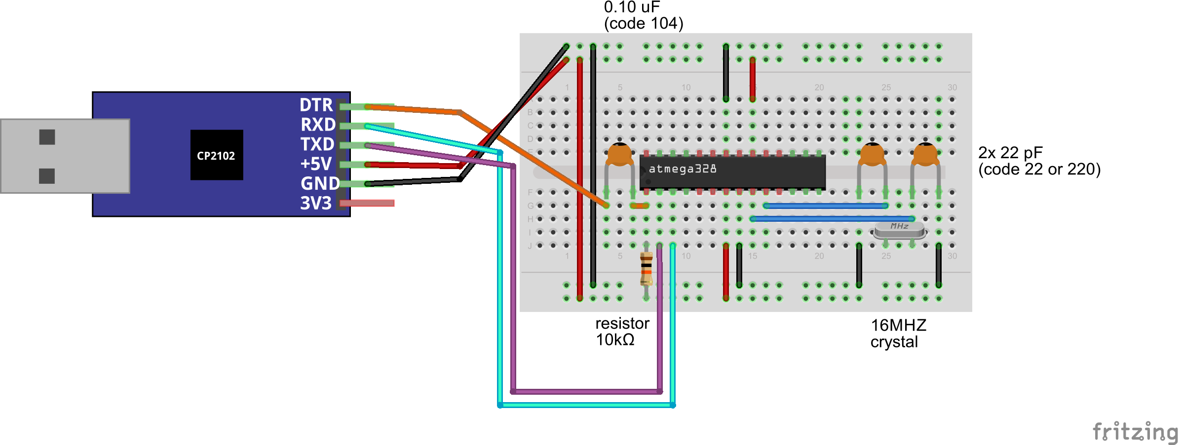 Github Leonvandenbeukel Arduino On A Breadboard This Is Simple Flashing Led Circuit Operating The To Test It With Blink Example Add 220 Ohm Resistor From Pin Pb5 Anode Of An And Attach Cathode