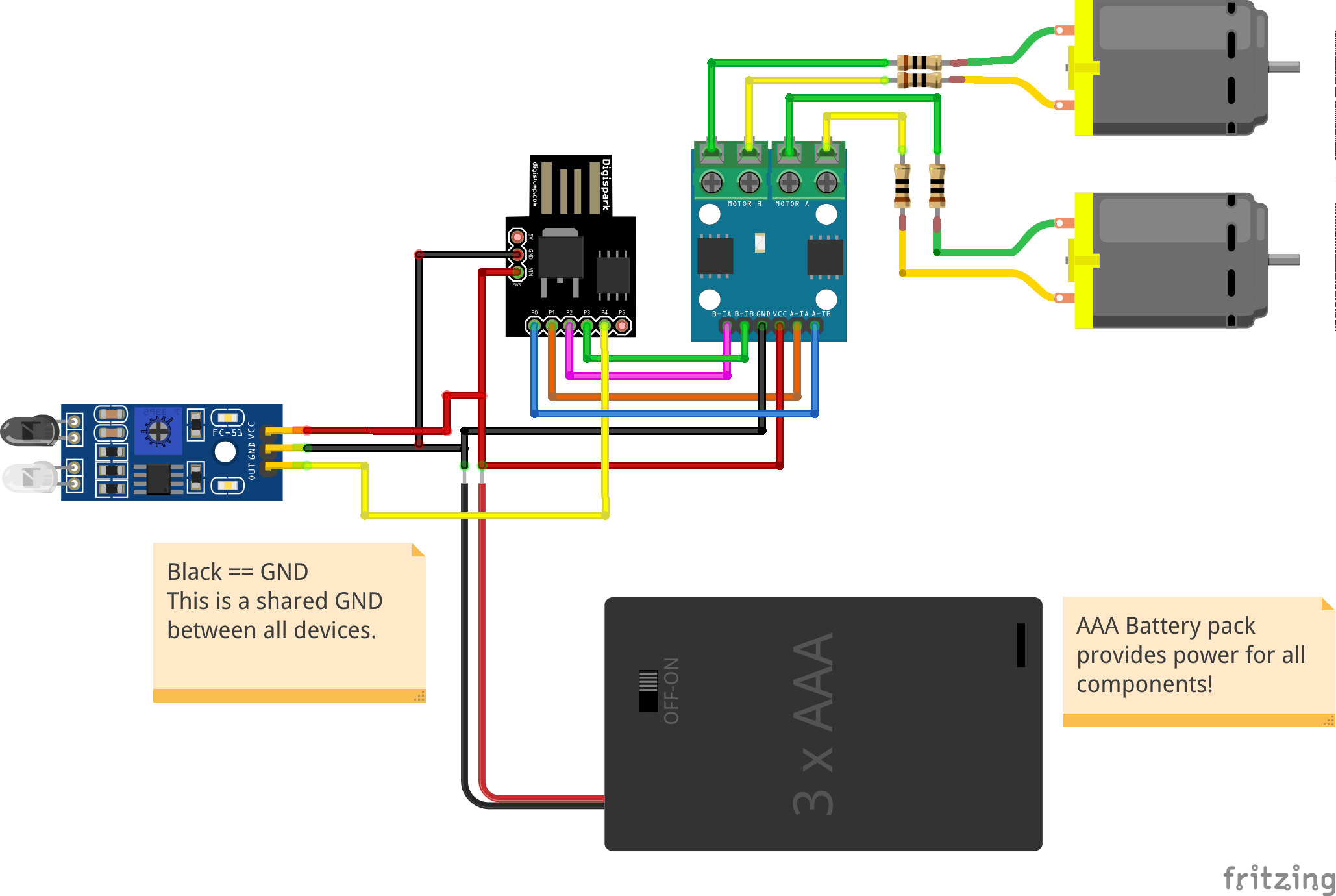 Circuit diagram for the ATtiny85 robot