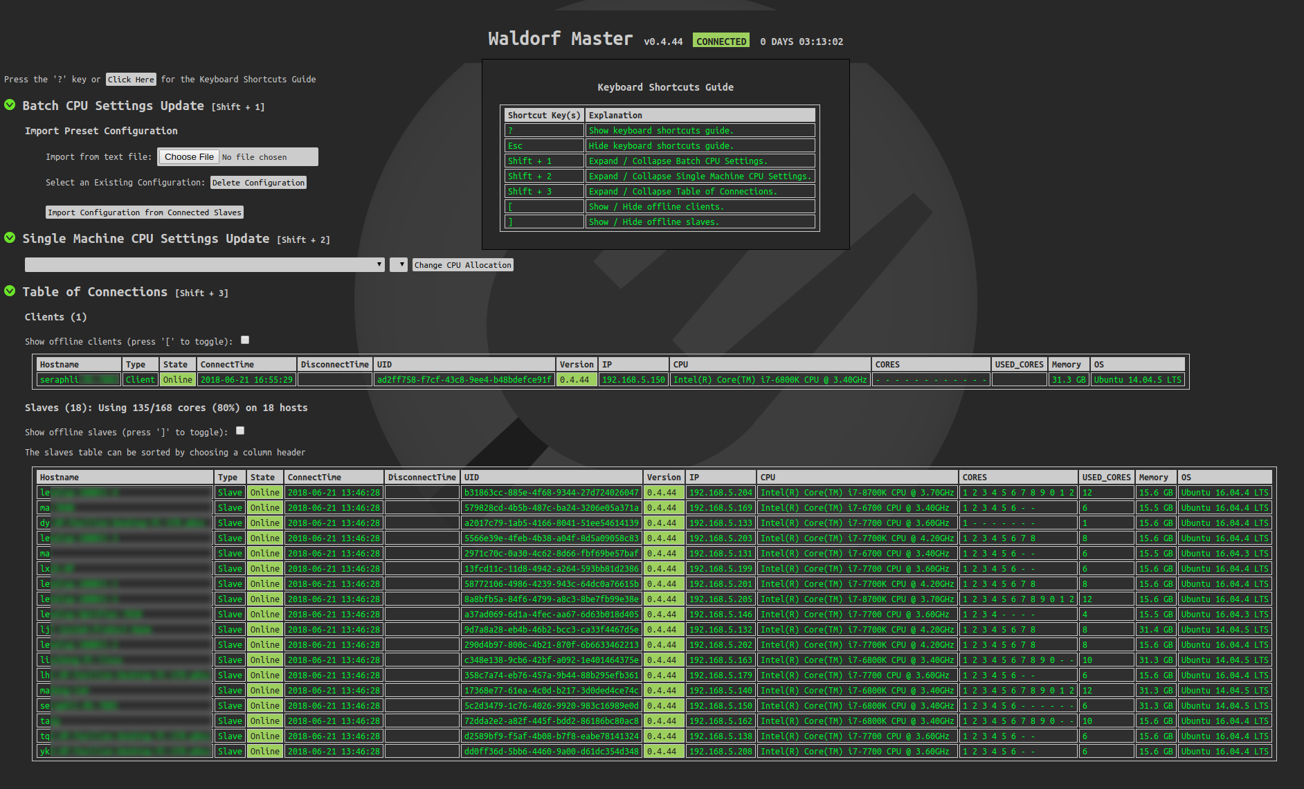 Screenshot of Waldorf admin webpage