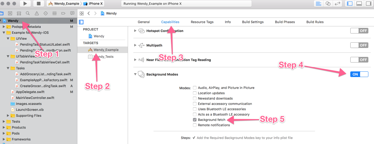 In XCode go to your project settings tab. Then the capabilities section. Turn on Background Modes and then check the box Background fetch