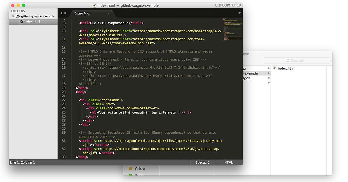 Création du ficher index.html
