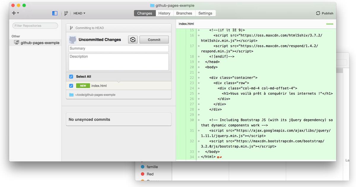 Contenu des fichiers sur GitHub Mac
