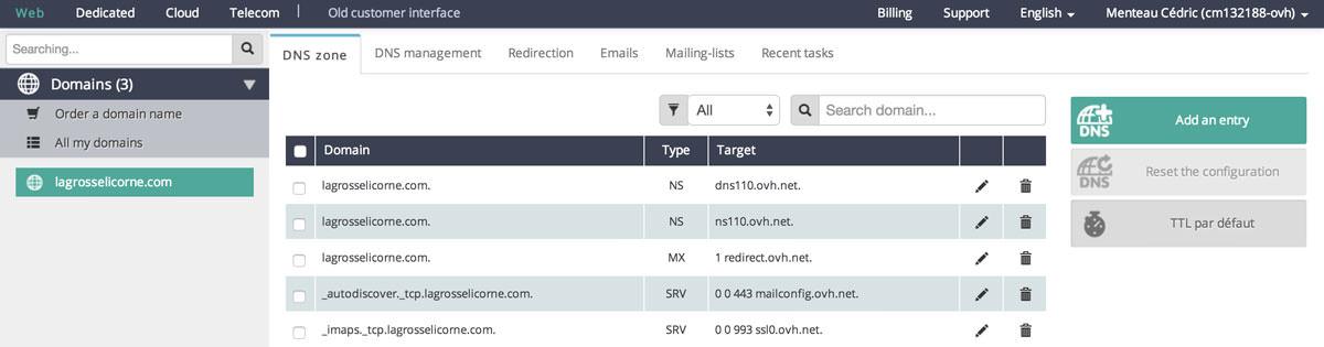 Configuration des DNS - étape 1