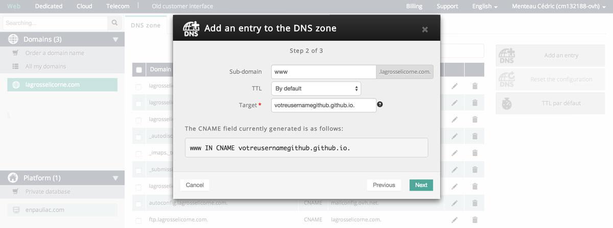 Configuration des DNS - étape 3