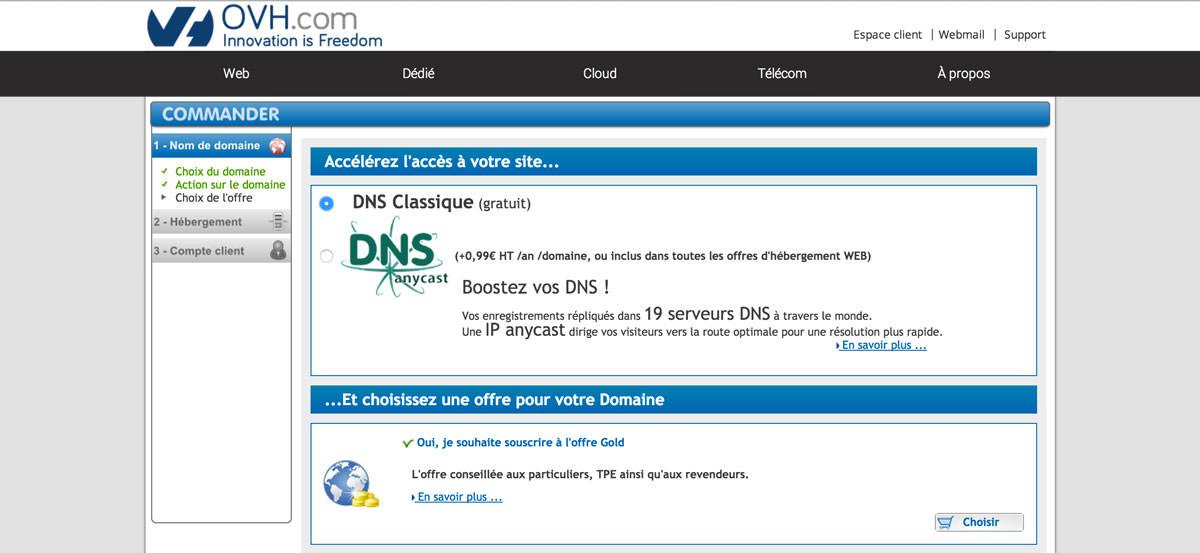 DNS et offre Gold