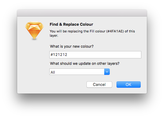 Sketch Replace Colour notifying that fill colour will be selected, and asking for a replacement colour and which properties of other layers to update