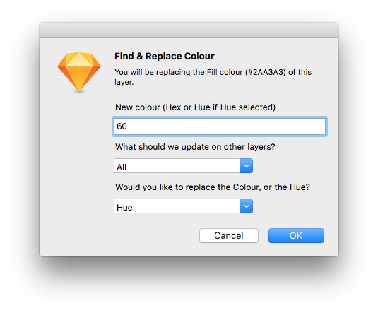 Sketch Replace Colour showing new Hue options
