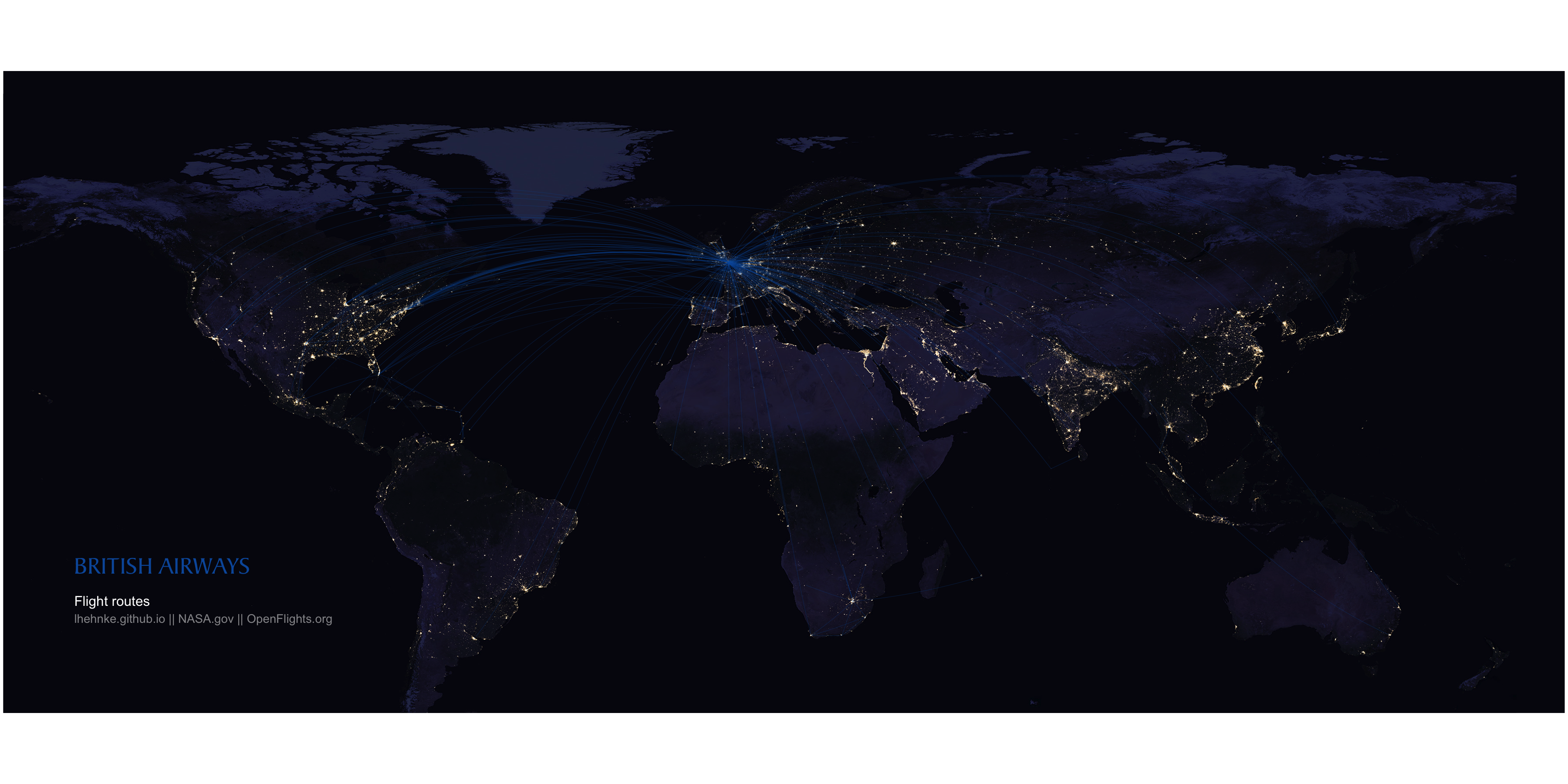 Flights At Night Mapping Airline Routes On Nasa S Night Lights