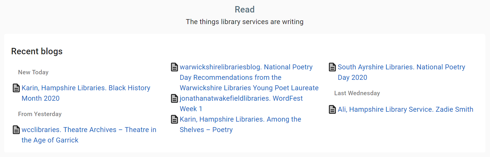 A screenshot of the blogs page on the libraries at home site showing an example list of latest blog posts from library services