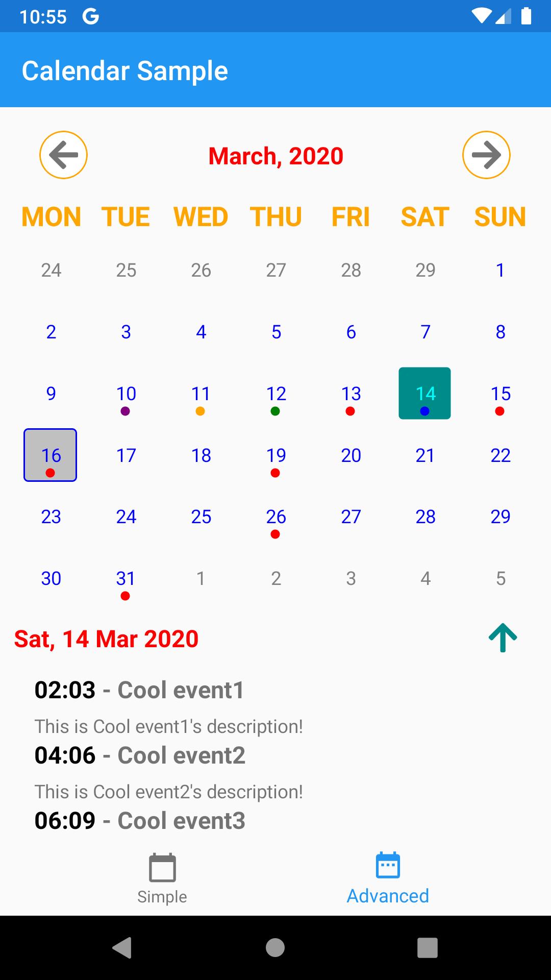Android Custom Calendar Screenshot