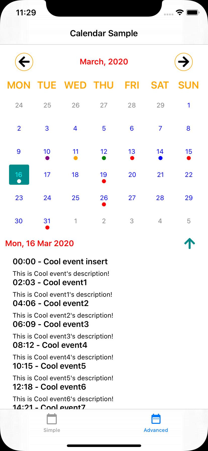 iPhone Custom Calendar Screenshot