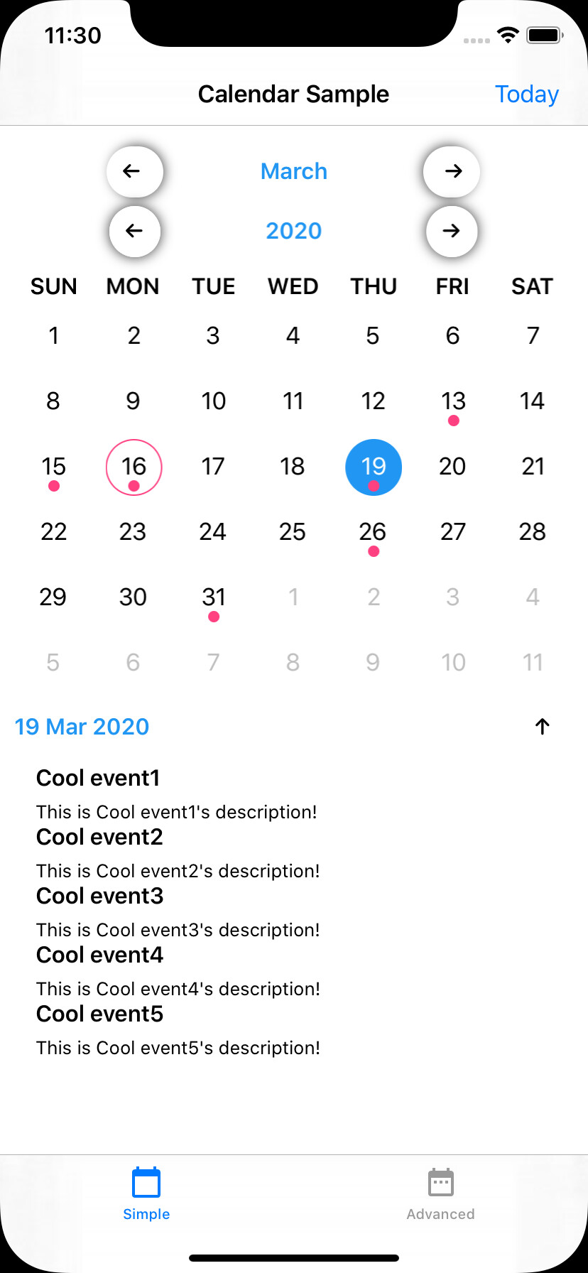 iPhone Calendar Screenshot