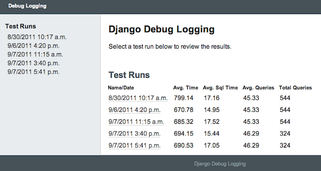 Debug Logging main view