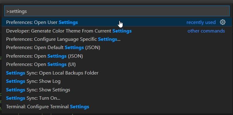 Open User Settings in VSCode