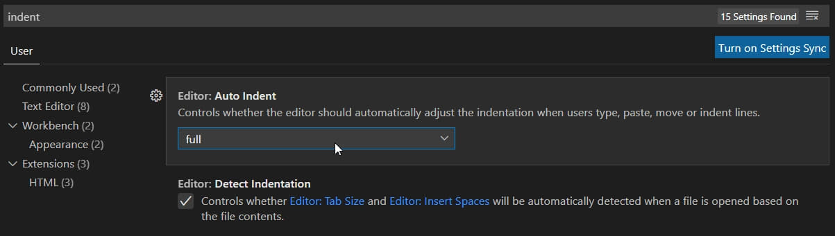 Enable full automatic indent in VSCode