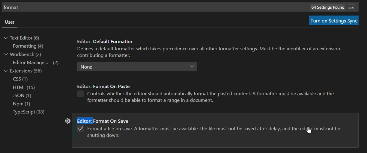 Format On Save in VSCode