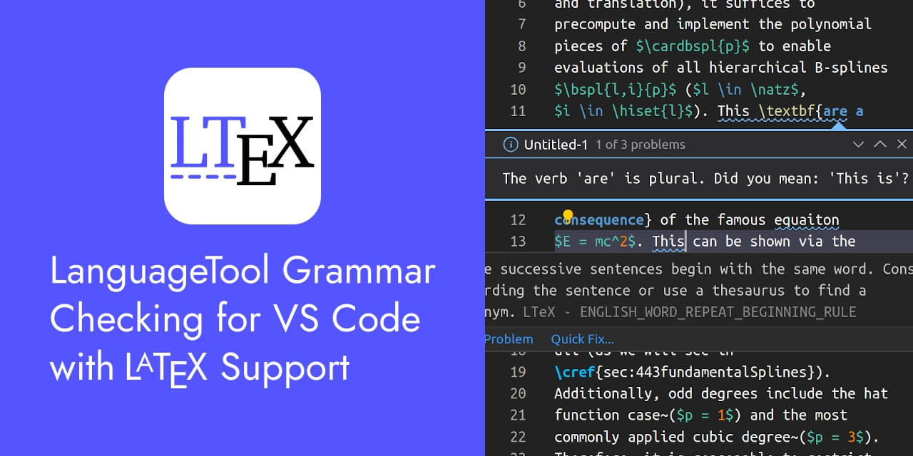 LTeX - Grammar/Spell Checker for VS Code with LanguageTool and LaTeX Support