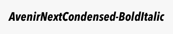 AvenirNextCondensed-BoldItalic