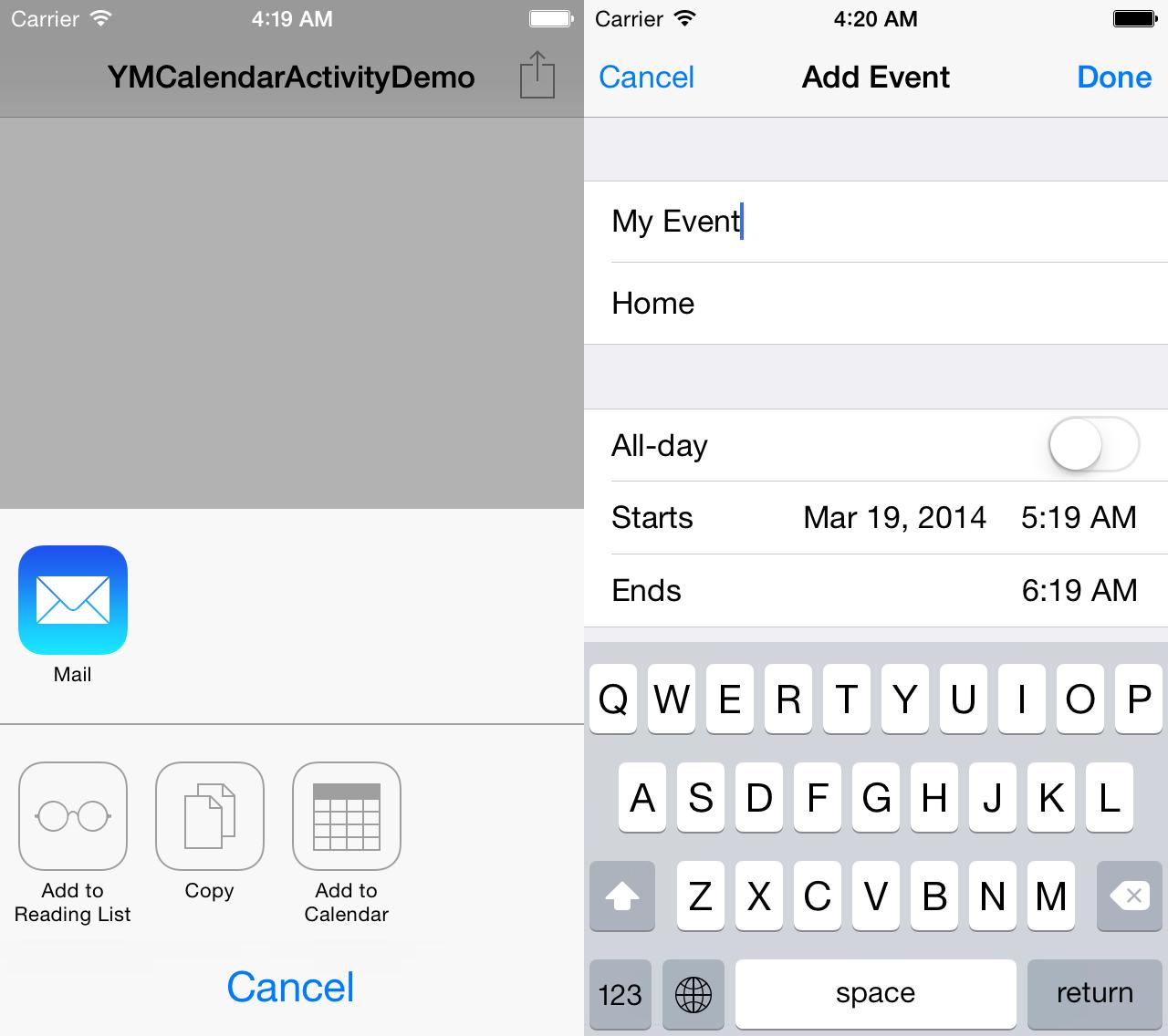 Screenshot of YMCalendarActivity