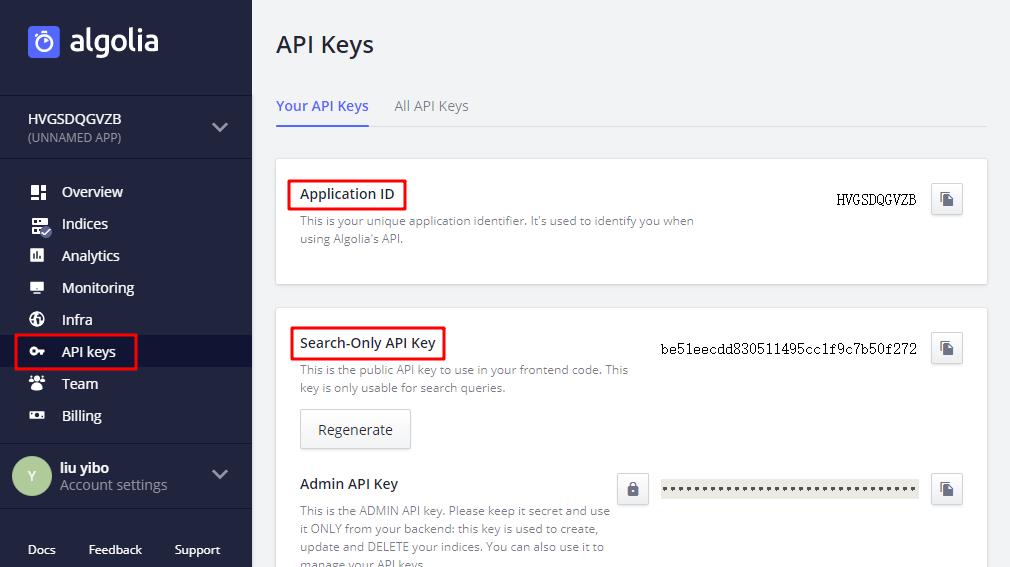 Stun | Algolia - API Keys