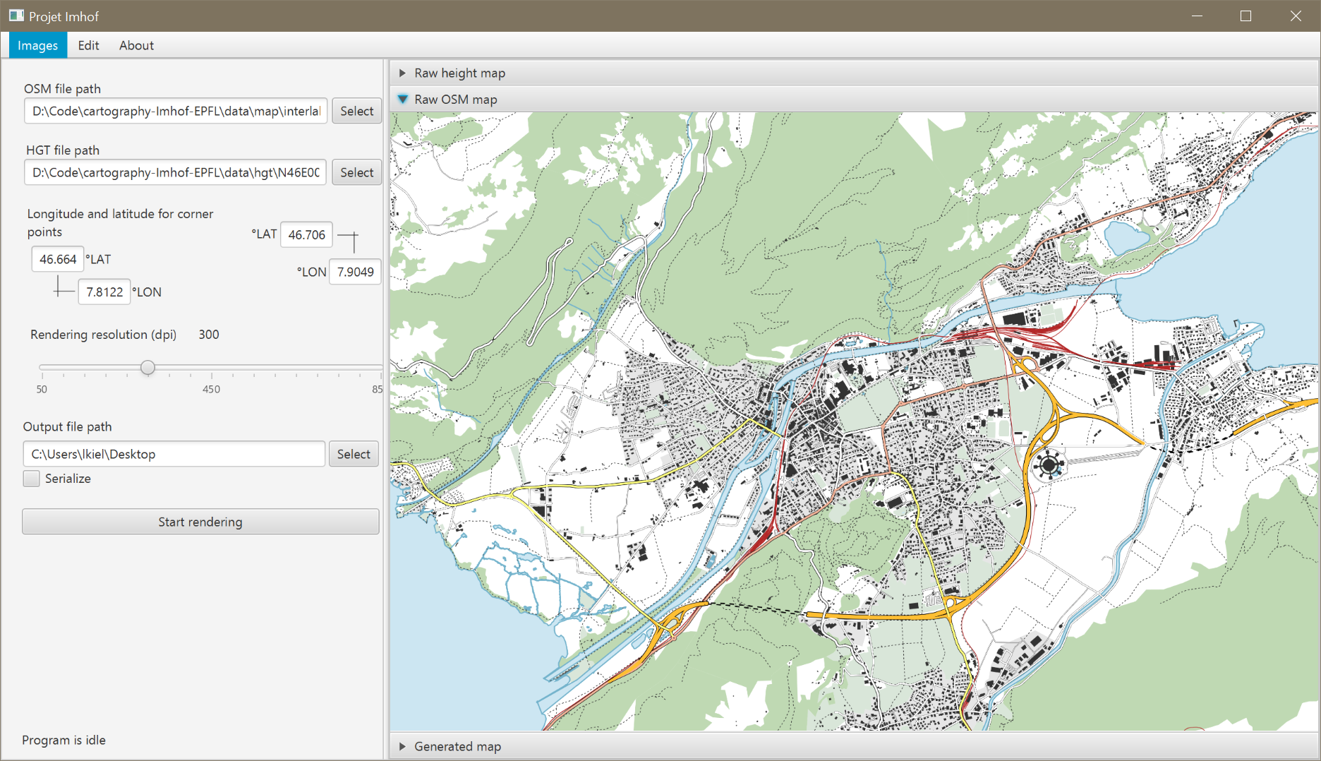 Illustration interface with raw map