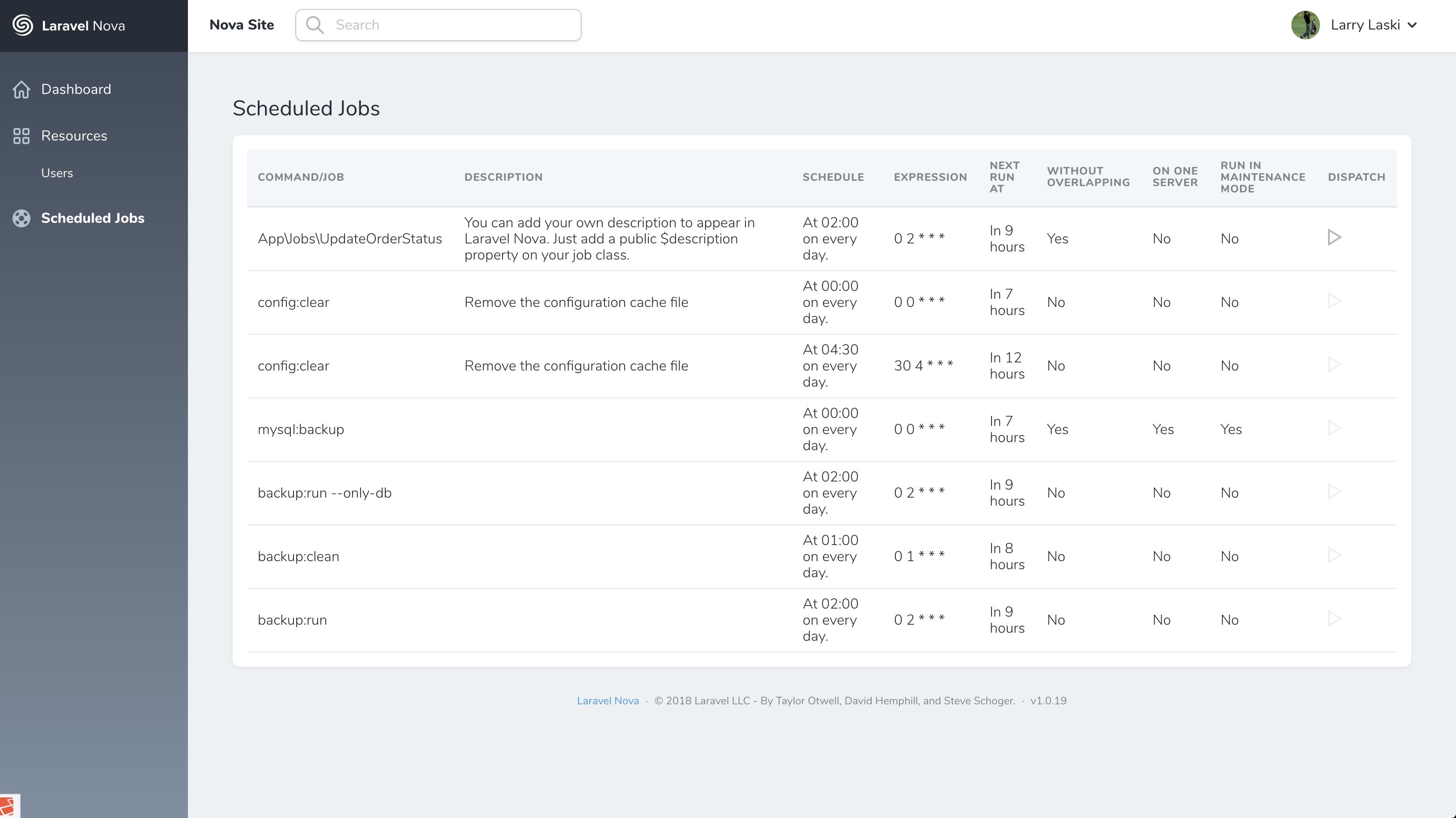 Nova Scheduled Jobs Tool Screenshot