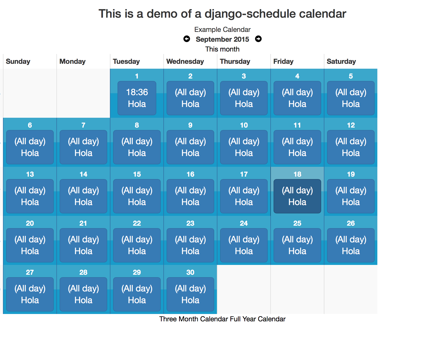 GitHub - llazzaro/django-scheduler: A calendaring app for Django