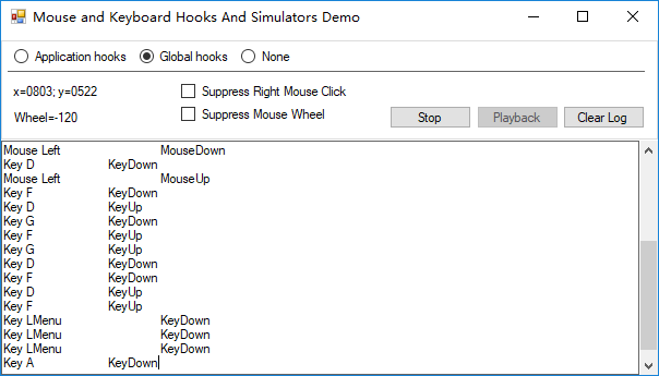 Keyboard and Mouse Hooking and Simulator Library in c#(winform)