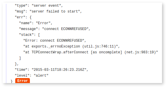 stack trace as seen in logentries app