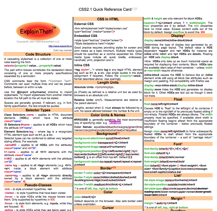 CSS Quick Reference
