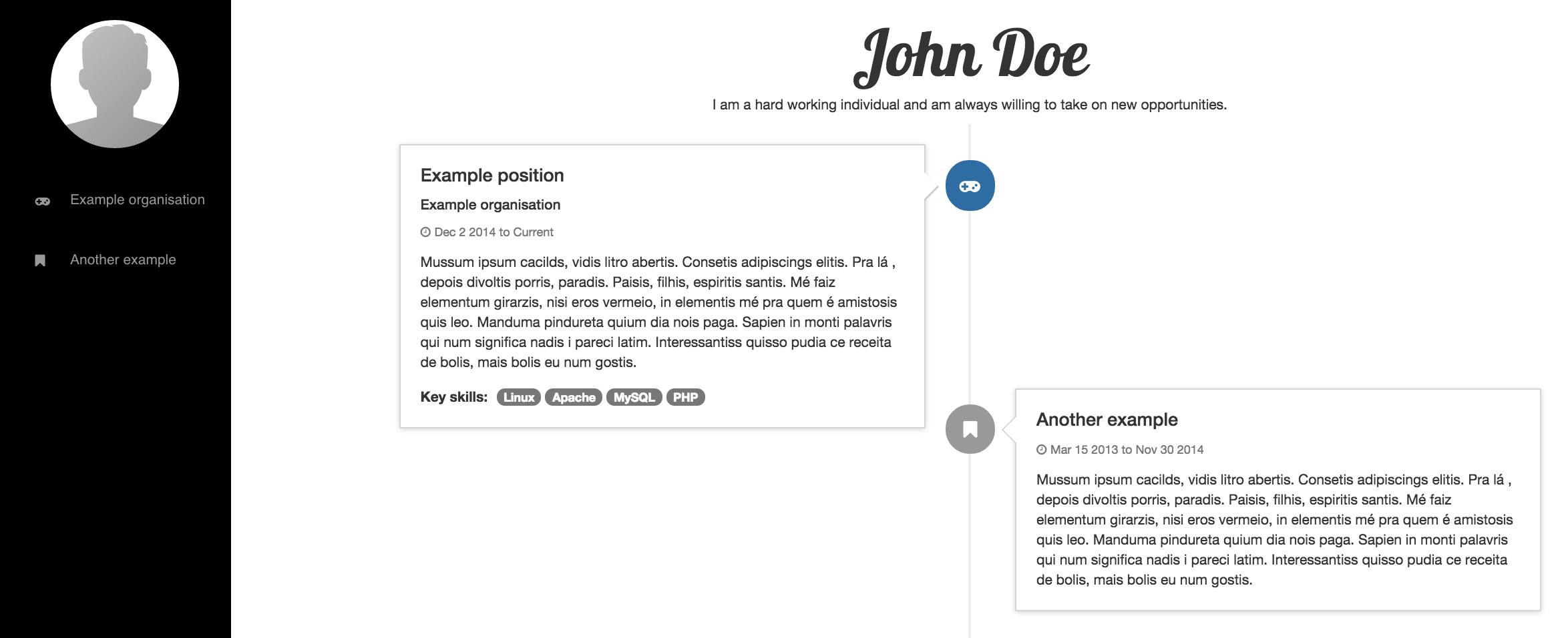 github  resume  a simple timeline resume website