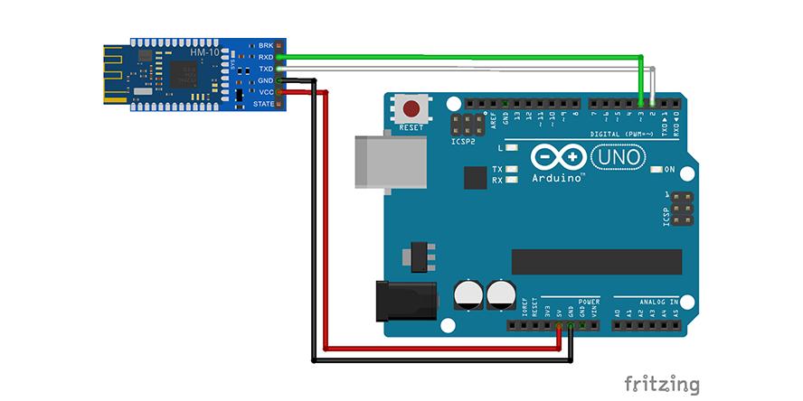 Arduino Uno to BLE module wiring scheme