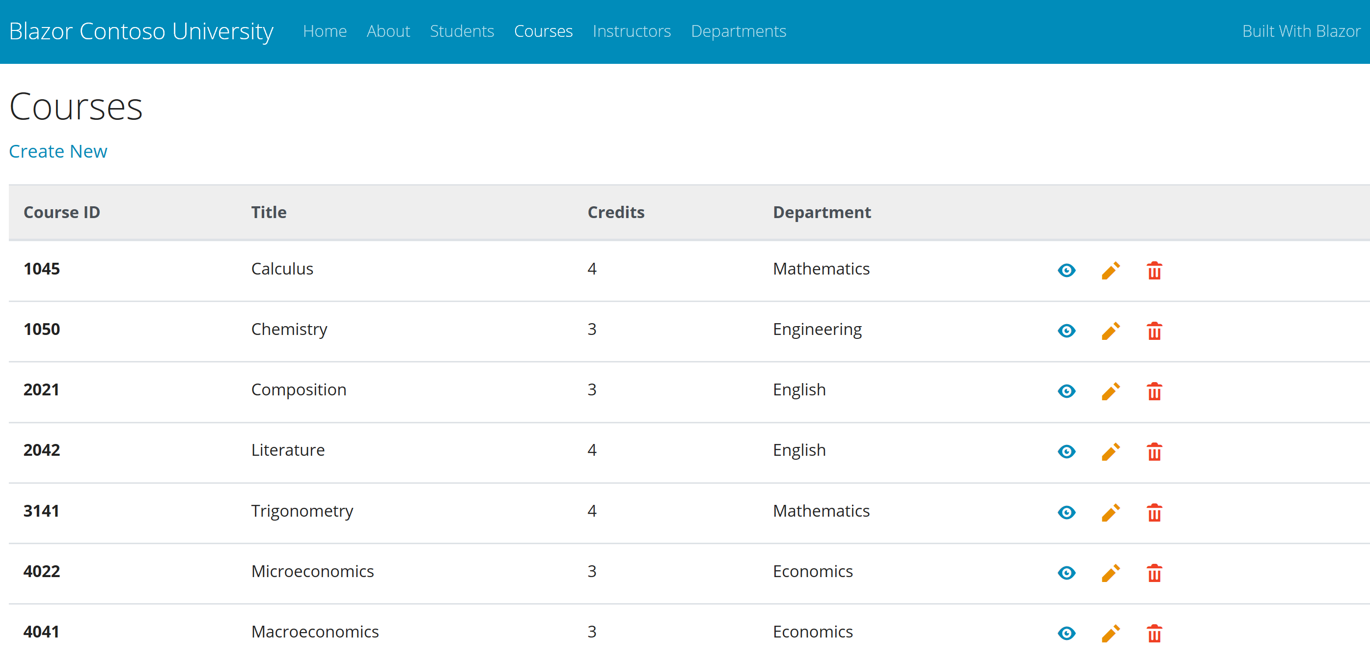 Courses Listing Page