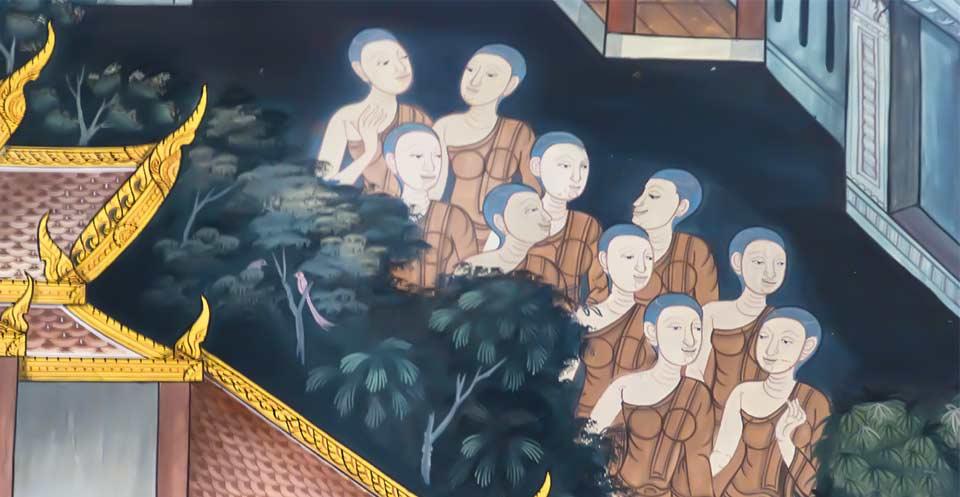 thai mural painting of bhikkhunis