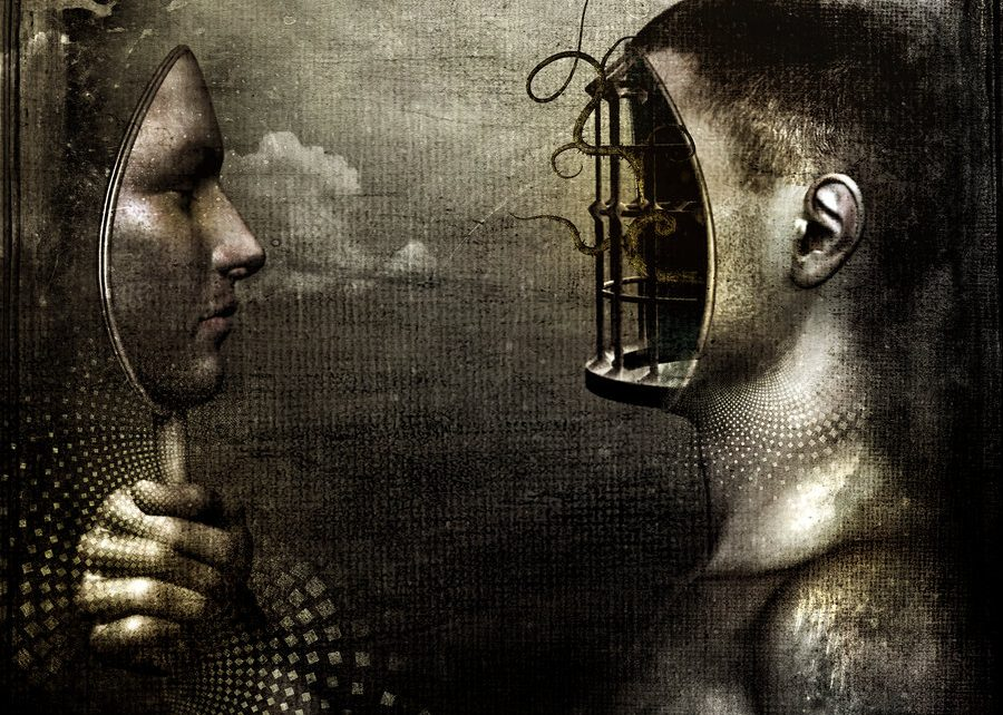Black and white painting by Cameron Gray showing someone who has lifted on part of their face and is holding it a mirror, the gap on their head is a cage with a writhing serpentine figure inside