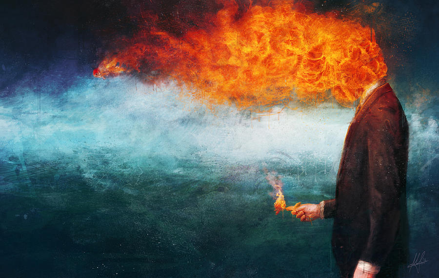 melancholy painting of person with head on fire