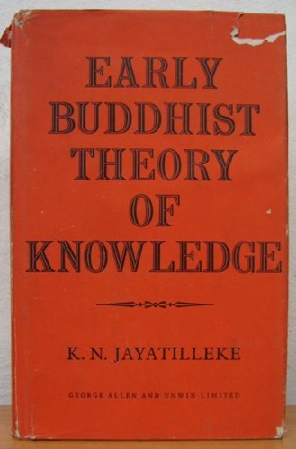Photo of old red faded copy of Jayatilleke's book with authors name and the title Early Buddhist theory of knowlegde