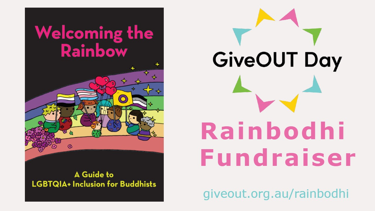 cover image of booklet with the words Welcoming the Rainbow< and the giveout day logo