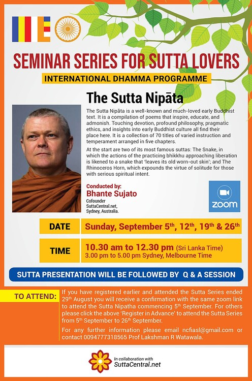 poster of the event with information provided below and a photo of bhante sujato